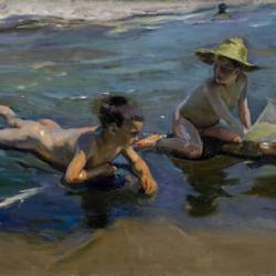 'Niños en la playa', una de las dos escenas de playa, subastadas en Londres, de Joaquín Sorolla (1863- 1923).